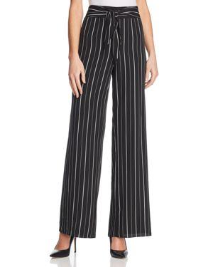 Aqua Tie Waist Striped Wide Leg Pants - 100% Exclusive