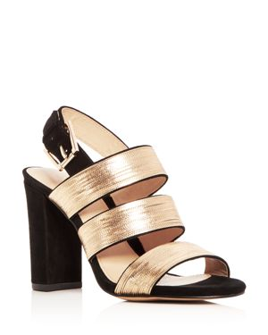 Botkier Women's Genesa Chain Embellished Suede High Block Heel Sandals