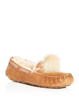 UGG® - Women's Dakota Suede & Shearling Pom-Pom Slippers