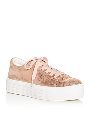 Kenneth Cole  WOMEN'S ABBEY TECHNI-COLE METALLIC FLORAL PRINT PLATFORM LACE UP SNEAKERS