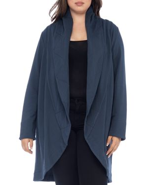 B Collection by Bobeau Curvy Peri Quilted Shawl Collar Knit Jacket
