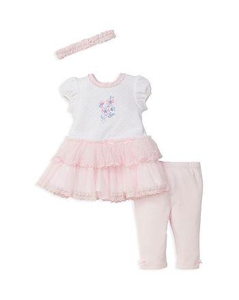 Little Me - Girls' Tutu Shirt Dress, Leggings & Headband Set - Baby