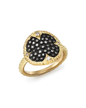 Armenta - Blackened Sterling Silver & 18K Yellow Gold Old World Pavé Champagne Diamond Disc Ring
