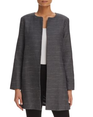 Eileen Fisher Herringbone Open-Front Long Jacket