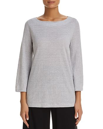 Eileen Fisher - Organic Linen Mini-Stripe Top