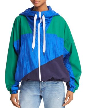 KENDALL AND KYLIE Colorblock Windbreaker Jacket in Green/ Blue