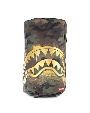 Sprayground Unisex Camo Print Gold Stencil Shark Duffpack