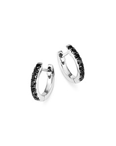 Bloomingdale's - Black Diamond Huggie Hoop Earrings in 14K White Gold, 0.20 ct. t.w. - 100% Exclusive