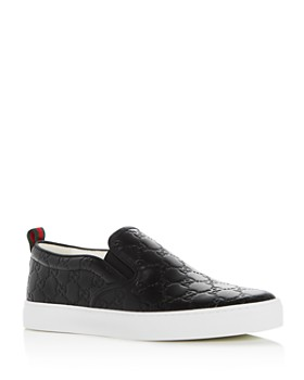 Gucci - Men's Logo Embossed Leather Slip-On Sneakers