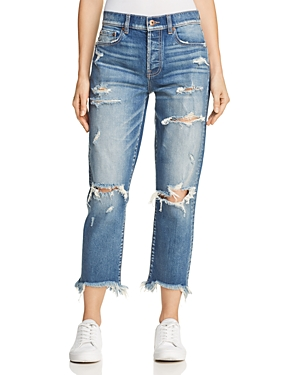 Pistola High-Rise Distressed Straight-Leg Jeans in Kentucky Rain