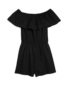 AQUA Girls' Ruffled Off-the-Shoulder Romper, Big Kid - 100% Exclusive - Bloomingdale's_0