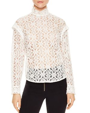Sandro Coleta Sheer Lace Top