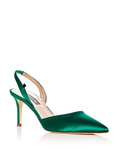 SJP by Sarah Jessica Parker - Women's Bliss Satin Slingback Kitten Heel Pumps - 100% Exclusive