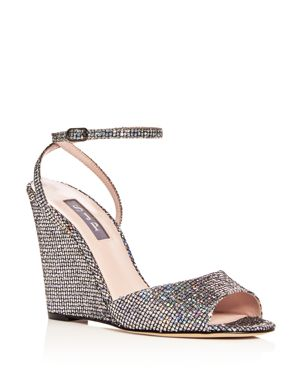 Sjp by Sarah Jessica Parker Women's Boca Glitter Ankle Strap Wedge Sandals