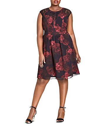 City Chic Plus - Rose-Print Lace-Inset Dress