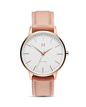 MVMT Boulevard Leather Strap Watch, 38Mm in Peach/ White/ Rose Gold