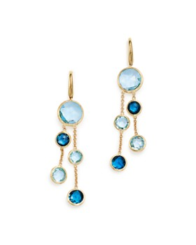 fb3971590f76 Marco Bicego - 18K Yellow Gold Jaipur Mixed Blue Topaz Double Strand  Earrings - 100% ...