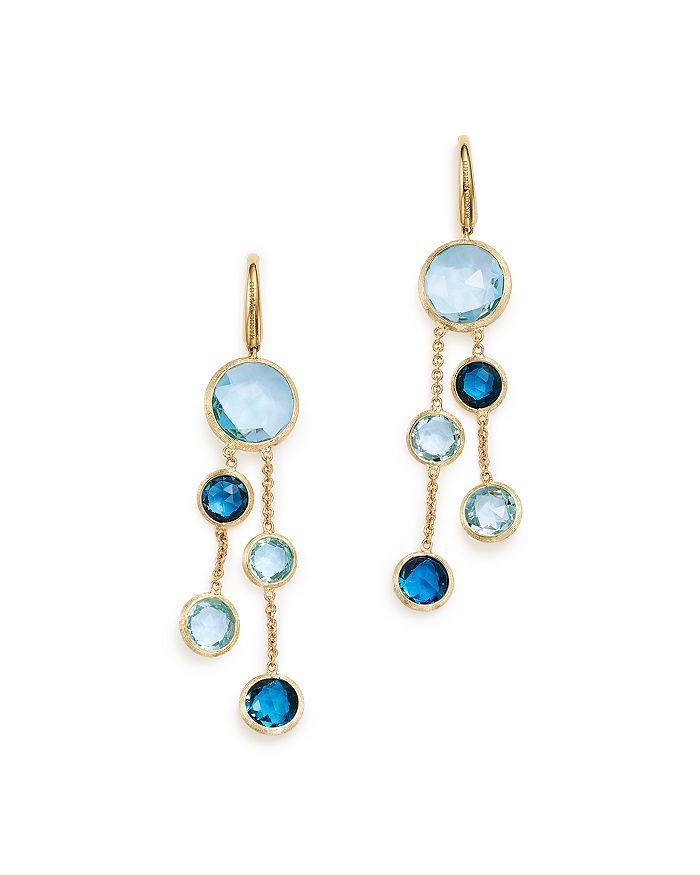 Marco Bicego - 18K Yellow Gold Jaipur Mixed Blue Topaz Double Strand Earrings - 100% Exclusive