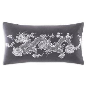 Natori Sterling Dragon Embroidered Decorative Pillow, 12 x 21