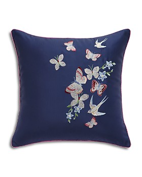 """Ted Baker - Embroidered Floral Decorative Pillow, 16"""" x 16"""""""