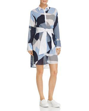 Kenneth Cole Printed Tie-Waist Shirt Dress