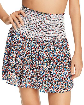 Tory Burch - Wildflower Smocked Skirt Swim Cover-Up