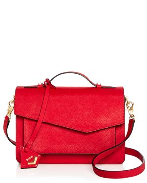COBBLE HILL LEATHER CROSSBODY BAG - RED