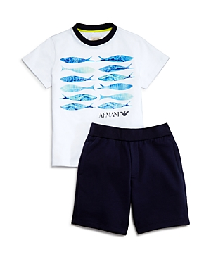 Armani Junior Boys Fish Tee  Shorts Set  Little Kid Big Kid