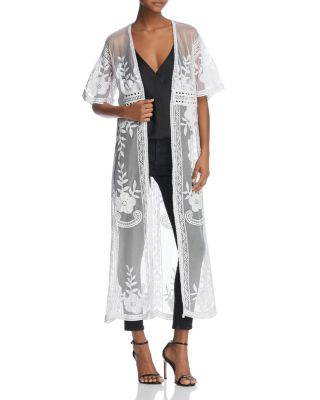 $AQUA Embroidered Mesh Duster Cardigan - 100% Exclusive - Bloomingdale's