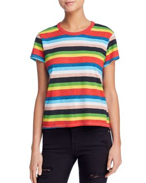 Rainbow Stripe Ringer Tee in Multi