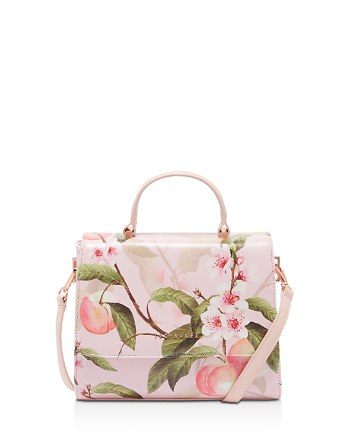 $Ted Baker Deanna Peach Blossom Crosshatch Small Satchel - Bloomingdale's