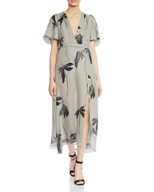 HALSTON HERITAGE Botanical-Print Silk Midi Dress   Bloomingdale\'s