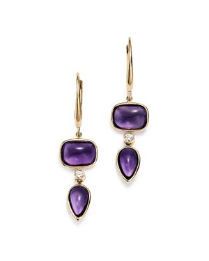 OLIVIA B 14K YELLOW GOLD TIERED AMETHYST CABOCHON & DIAMOND DROP EARRINGS - 100% EXCLUSIVE