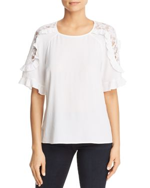 DANIEL RAINN LACE-SHOULDER TOP