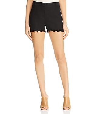 Three Dots Linen Pom-Pom Trimmed Shorts