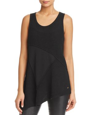 Donna Karan Mixed Knit Angle Top