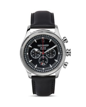 JACK MASON Nautical Chronograph Leather Strap Watch, 42Mm in Black/ Black