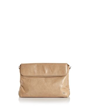 Halston Heritage Tina Double-Flap Convertible Leather Clutch 2835816