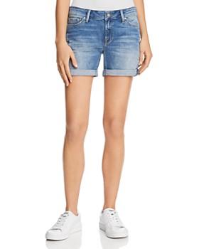 Mavi - Pixie Mid Rise Denim Shorts in Light Distressed Vintage