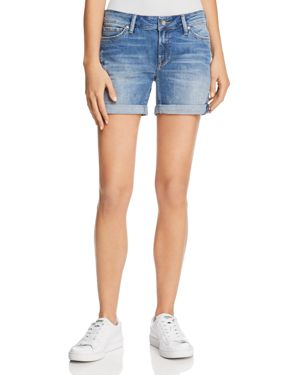 Pixie Mid Rise Denim Shorts In Light Distressed Vintage