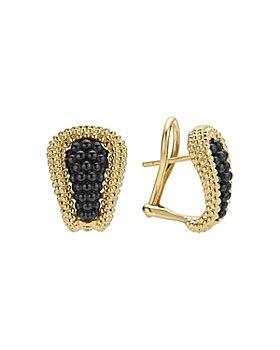 LAGOS - Gold & Black Caviar Collection 18K Gold & Ceramic Huggie Earrings