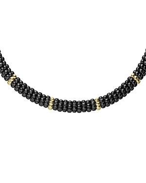 Lagos Gold & Black Caviar Collection 18K Gold & Ceramic Twelve Station Collar Necklace, 16