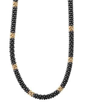 "LAGOS - Ceramic & 18K Yellow Gold Black Caviar Necklace, 16"""