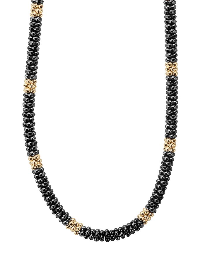 """LAGOS - Gold & Black Caviar Collection 18K Gold & Ceramic Rope Necklace, 18"""""""