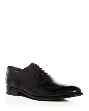 Men'S Milton Leather Brogue Wingtip Oxfords, Black Leather