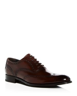 Men'S Milton Leather Brogue Wingtip Oxfords, Marrone Leather