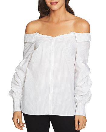 1.STATE - Off-the-Shoulder Button-Down Top