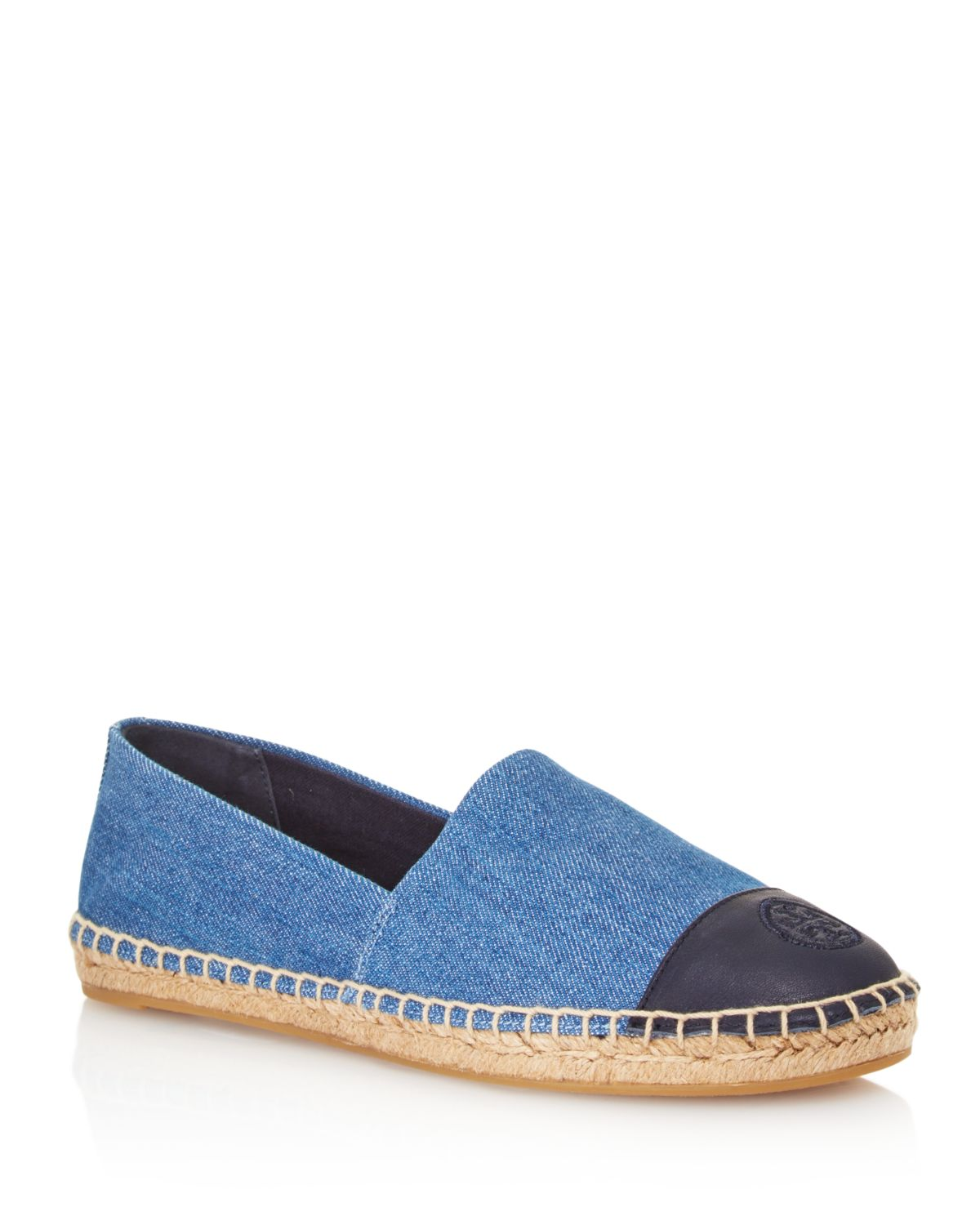 Tory Burch Women's Denim Color-Block Cap Toe Espadrilles