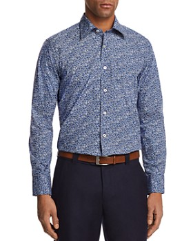 Canali - Micro Floral Regular Fit Button-Down Shirt