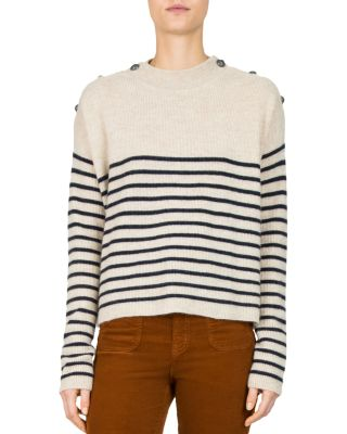 $The Kooples Striped Button-Detail Cashmere Sweater - Bloomingdale's